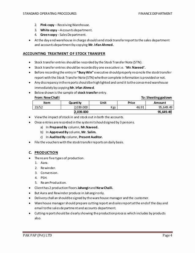 Warehouse Standard Operating Procedures Template Unique sops Of Finance Dept