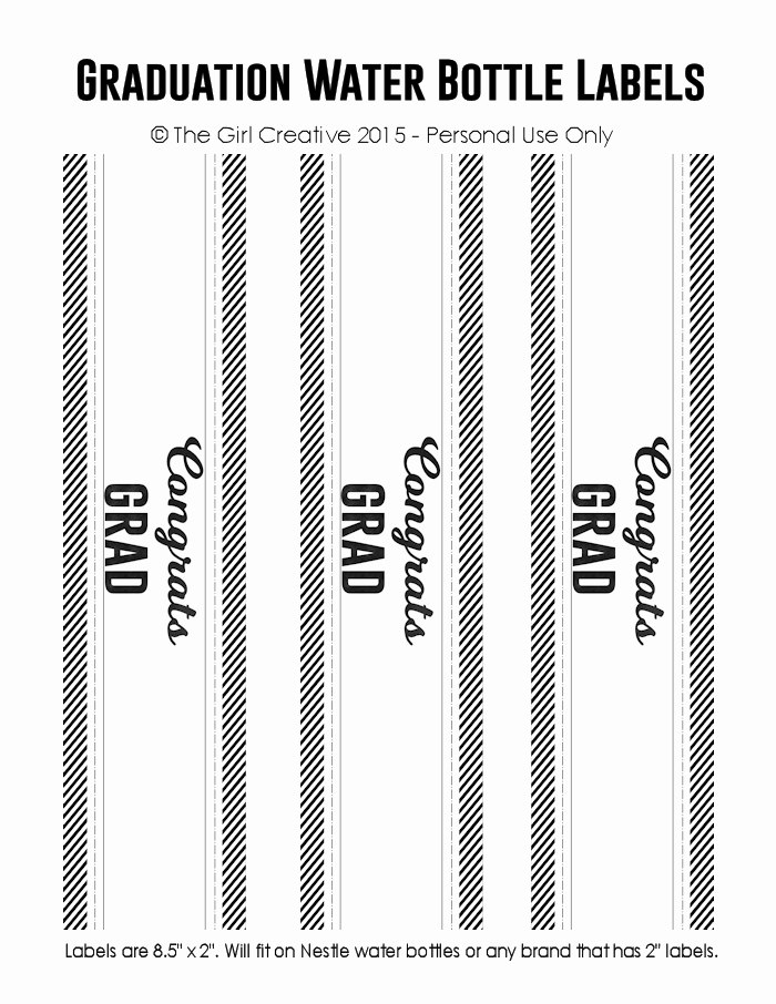 Water Bottle Labels Template Beautiful Graduation Printables the Girl Creative