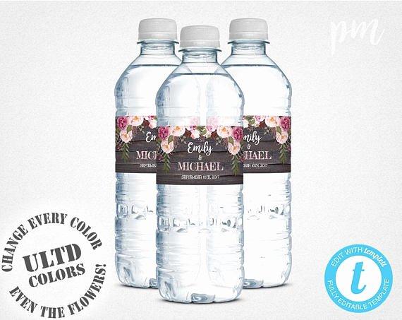 Water Bottle Labels Template Fresh Wedding Water Bottle Labels Template Printable Water Bottle
