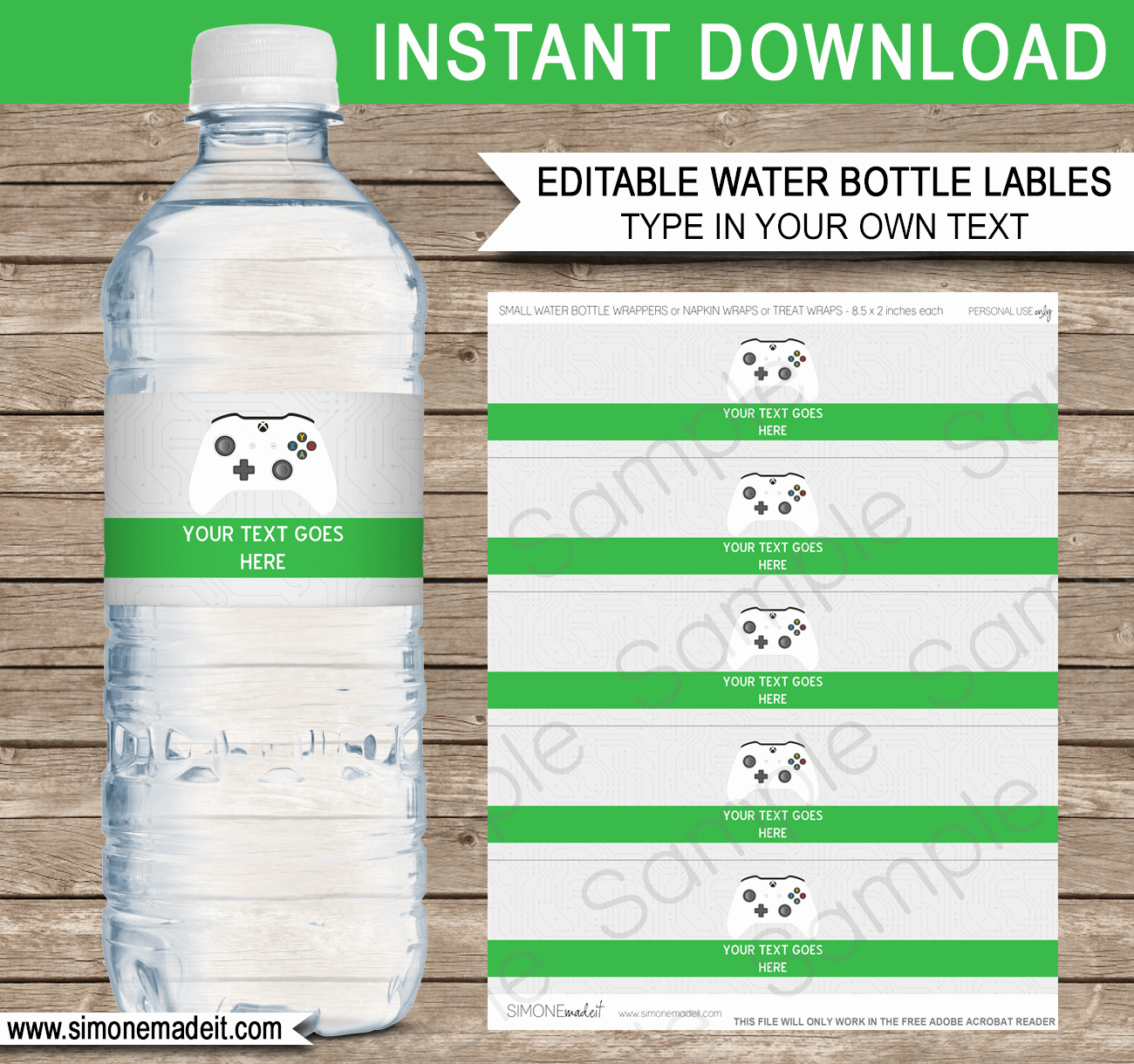 Water Bottle Labels Template Lovely Xbox Party Water Bottle Labels