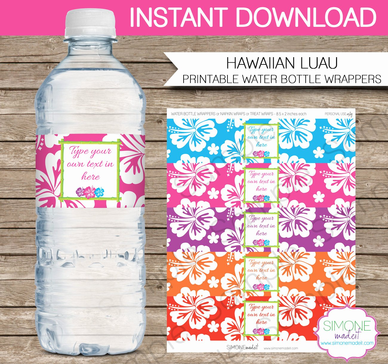 luau party water bottle labels or