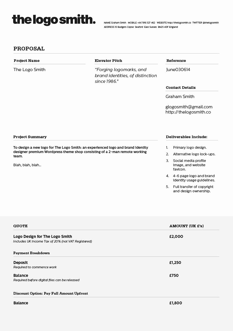 Web Design Quotes Template Best Of Logo Design Proposal Invoice Template to Download