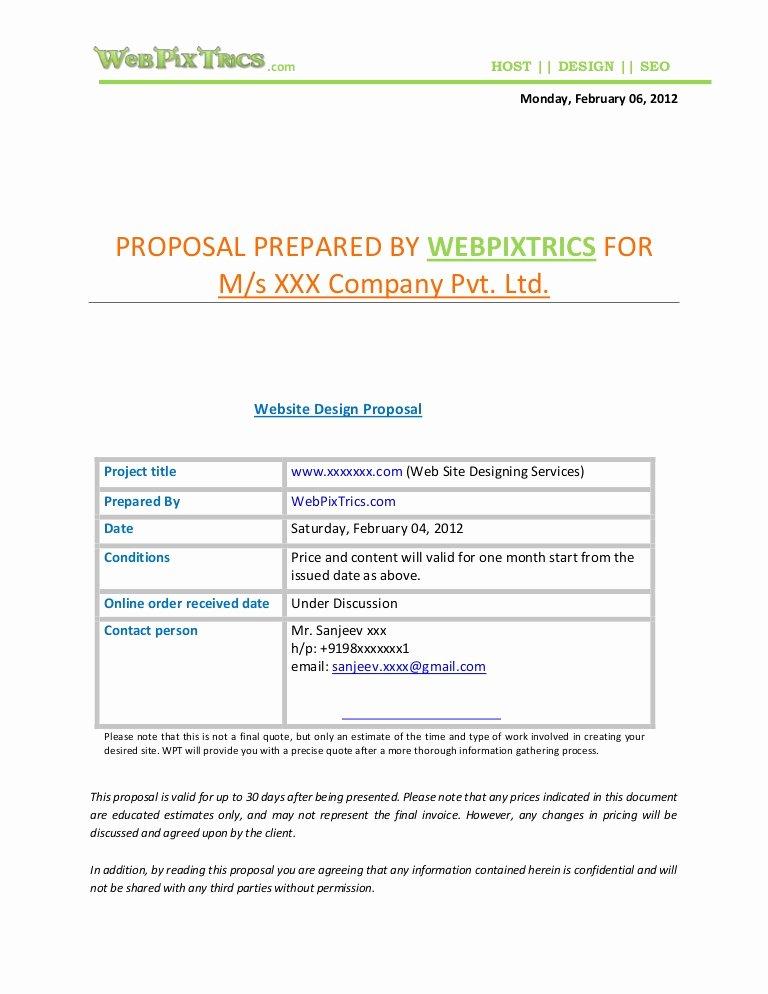 Web Design Quotes Template Elegant Web Design Proposal Sample
