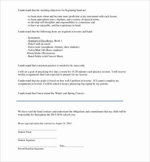 Wedding Band Contract Template Fresh Band Contract Template 21 Free Samples Examples format