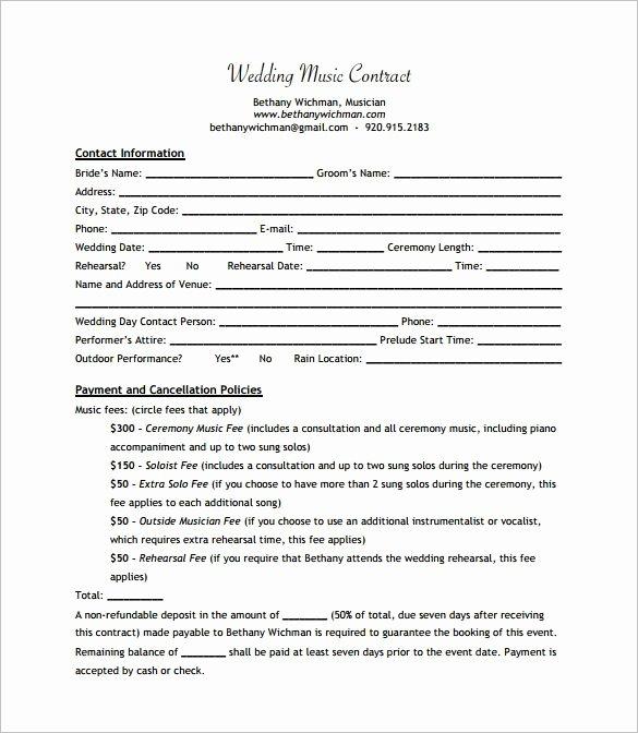 Wedding Band Contract Template Fresh Wedding Band Contract Templates Dj In 2019