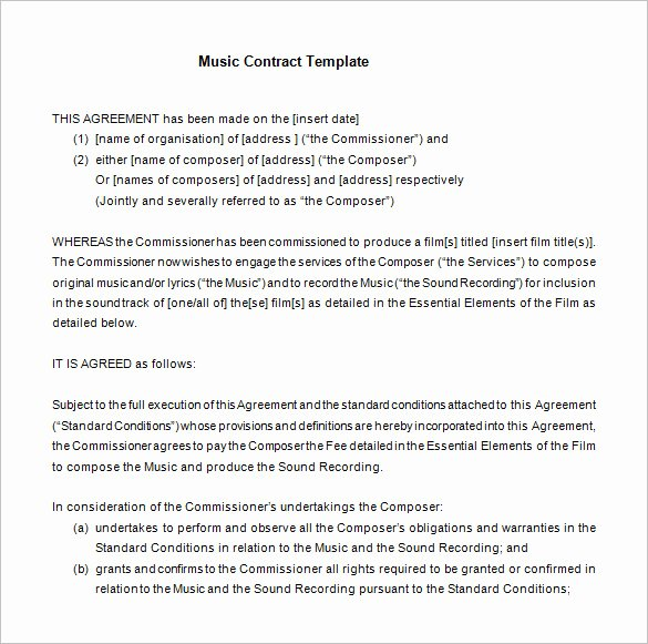 Wedding Band Contract Template Lovely 20 Music Contract Templates Word Pdf Google Docs
