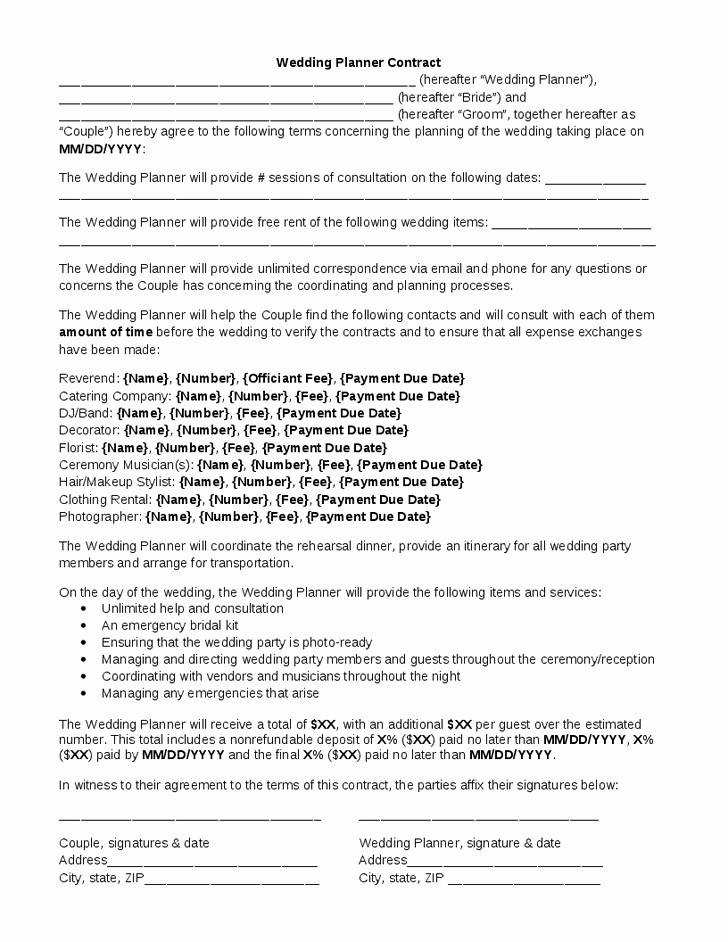 Wedding Band Contract Template Lovely Wedding Planner Contract
