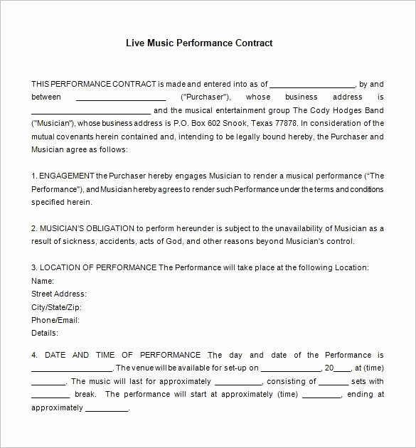 Wedding Band Contract Template Luxury 10 Best Contracts Images On Pinterest