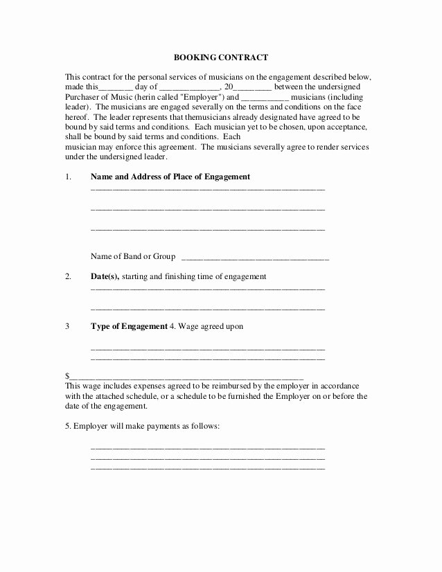 Wedding Band Contract Template Luxury Booking Contract