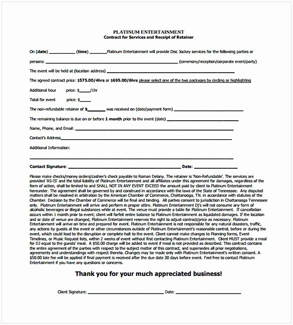 Wedding Band Contract Template New Dj Contract