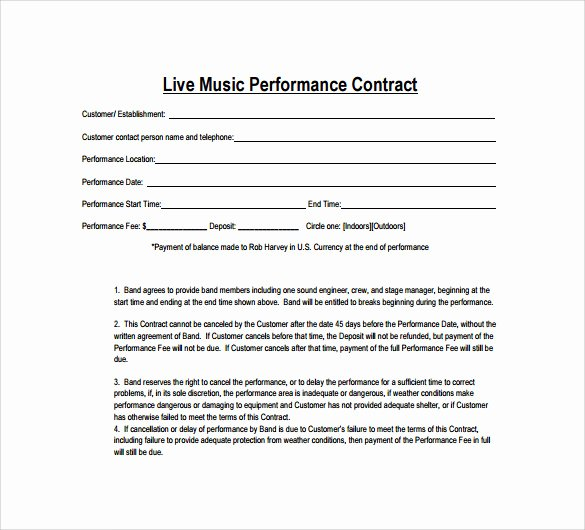 Wedding Band Contract Template New Sample Music Contract Template 22 Free Documents In Pdf
