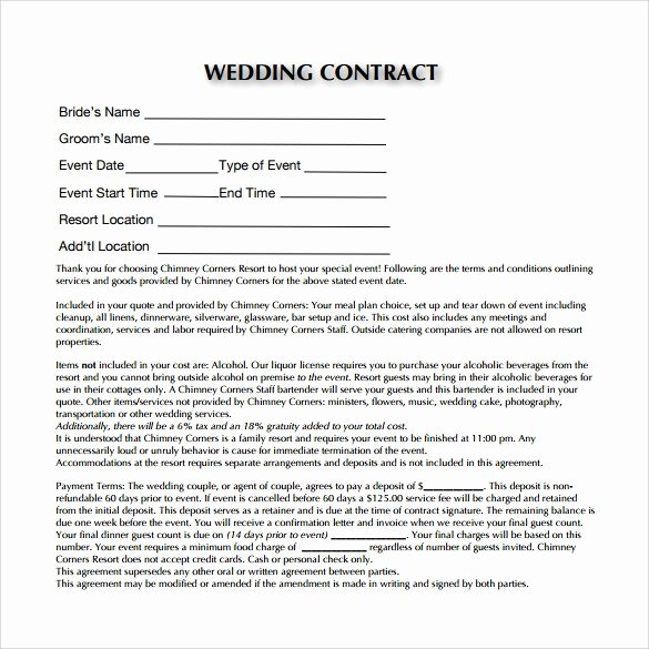 Wedding Band Contract Template New Wedding Contract Template 14 Download Free Documents In