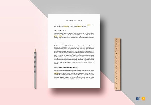 Wedding Band Contract Template Unique 28 Wedding Contract Templates – Example Word Google Docs