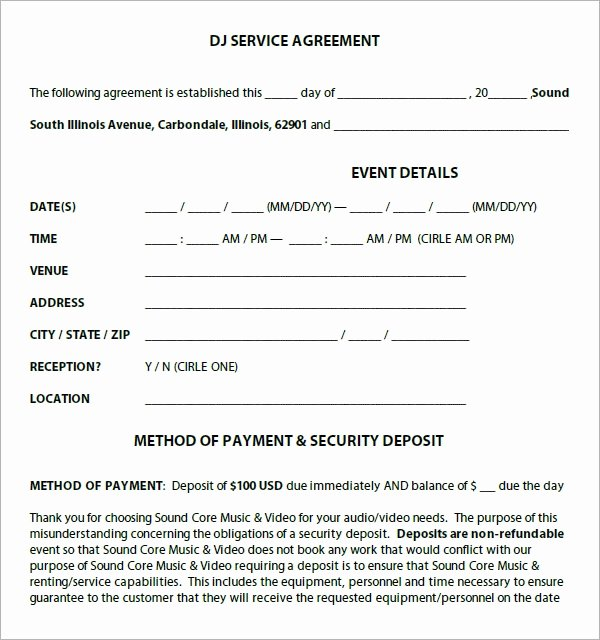 Wedding Dj Contract Template Awesome Dj Contract 12 Download Documents In Pdf