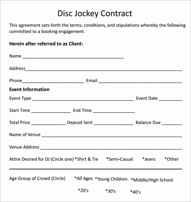 Wedding Dj Contract Template Beautiful Dj Contract 12 Download Documents In Pdf