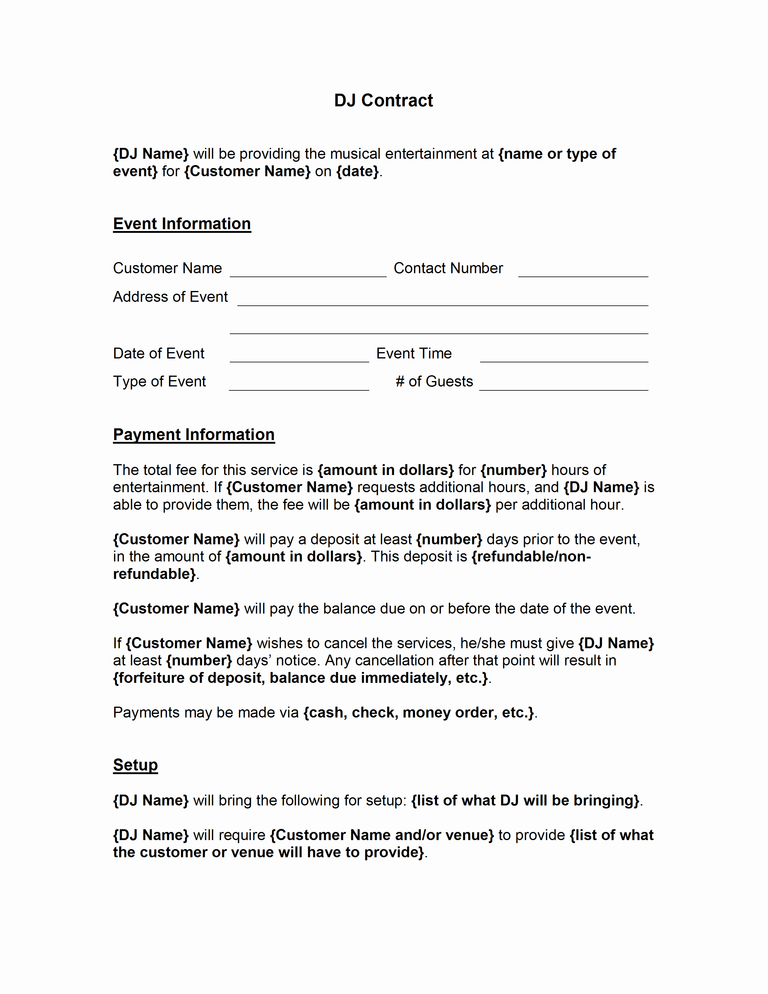 Wedding Dj Contract Template New Dj Contract Template
