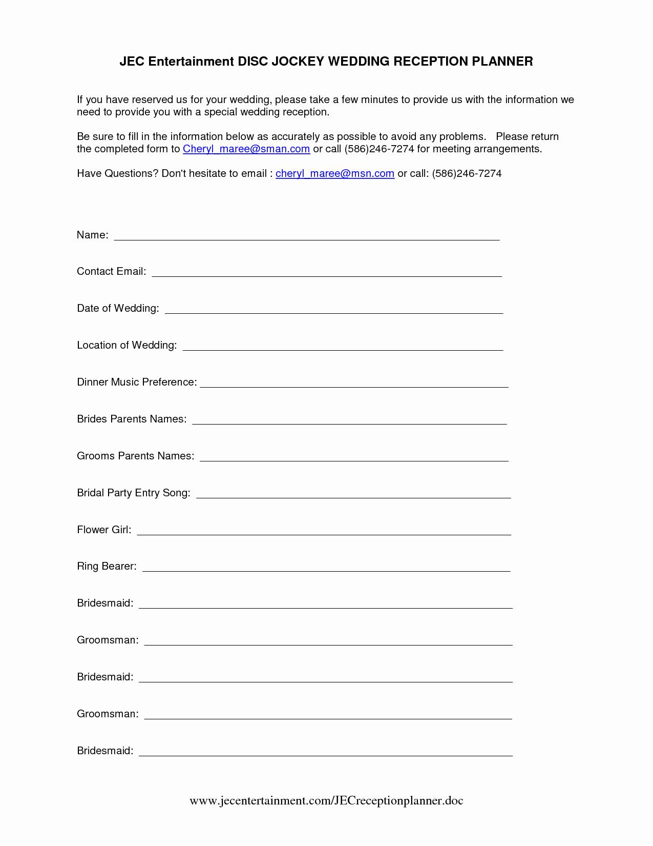 Wedding Dj Contract Template New Dj Wedding Planner form