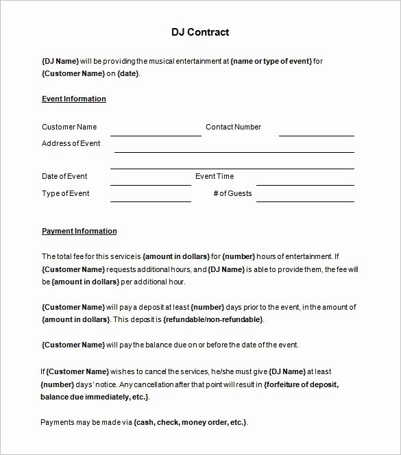 Wedding Dj Contract Template Unique 6 Dj Contract Templates – Free Word Pdf Documents