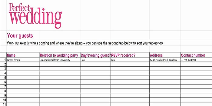 Wedding Guest List Template Awesome 35 Beautiful Wedding Guest List & Itinerary Templates