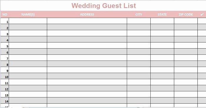 Wedding Guest List Template Beautiful 35 Beautiful Wedding Guest List & Itinerary Templates