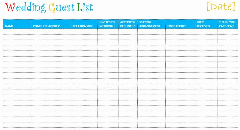 Wedding Guest List Template Beautiful 7 Free Wedding Guest List Templates and Managers