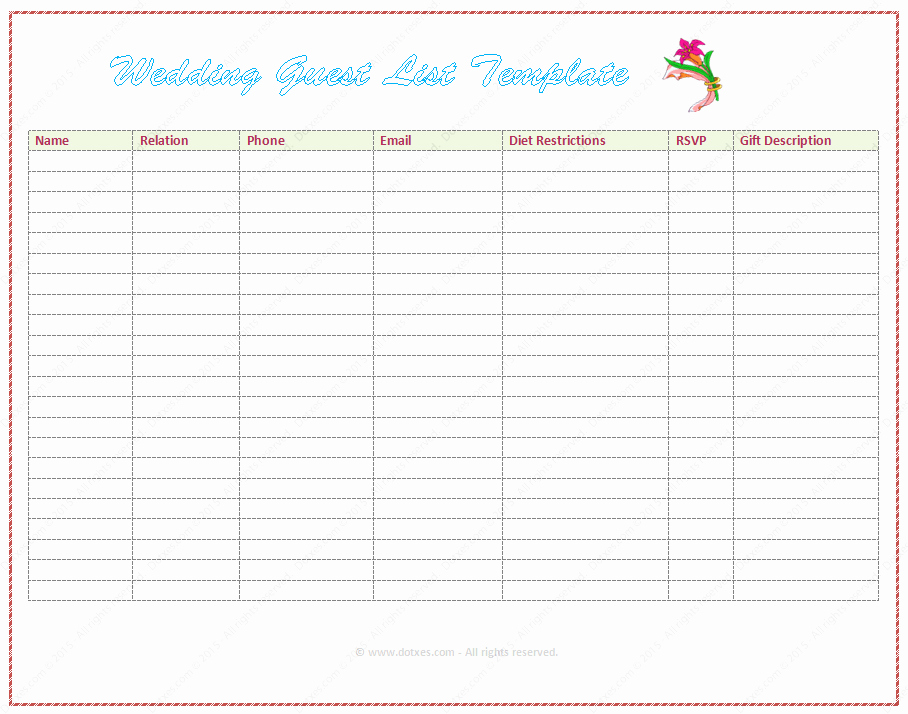 Wedding Guest List Template Best Of Wedding Guest List Template Word Dotxes