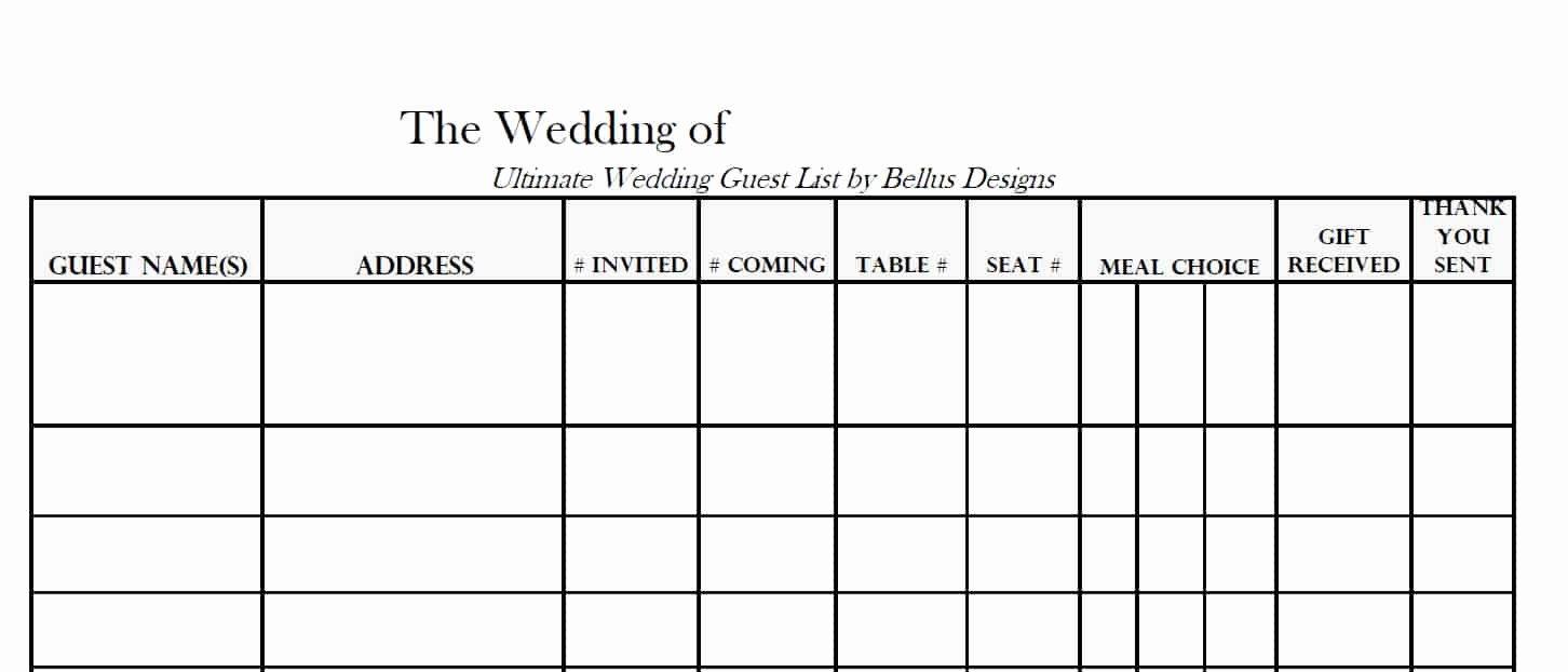 Wedding Guest List Template Elegant 17 Wedding Guest List Templates Excel Pdf formats