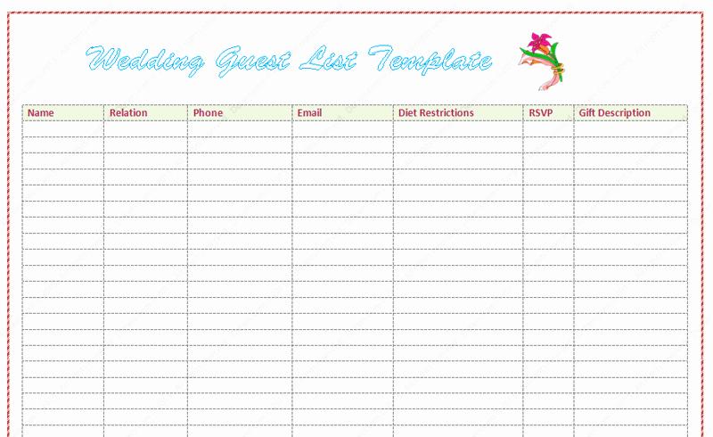 Wedding Guest List Template Inspirational Wedding Guest List Template Word Dotxes