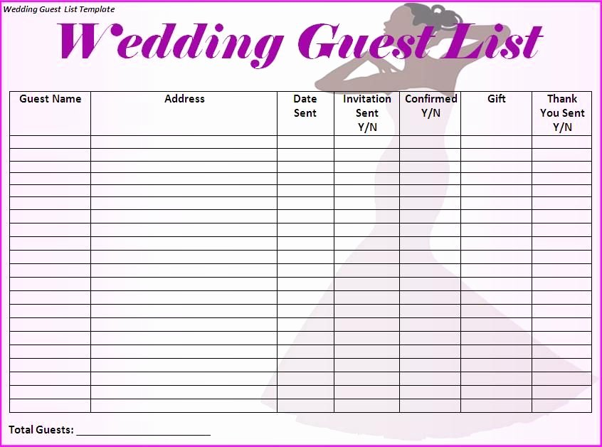 Wedding Guest List Template Lovely Wedding Guest List Will Contain Names Of Guests Along with