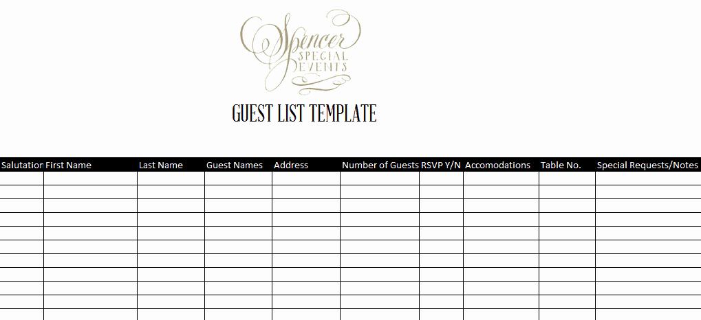 Wedding Guest List Template Luxury 7 Guest List Templates Excel Pdf formats