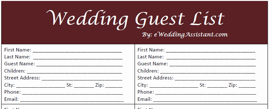Wedding Guest List Template Pdf Awesome 17 Wedding Guest List Templates Excel Pdf formats