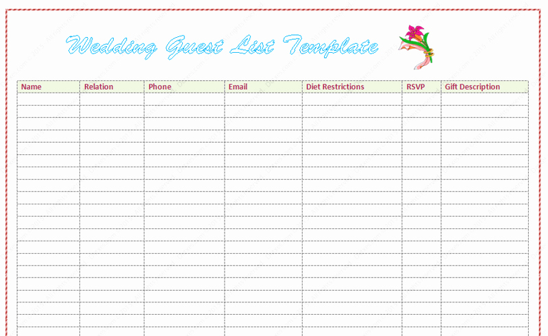 Wedding Guest List Template Pdf Awesome Wedding Guest List Template Word Dotxes