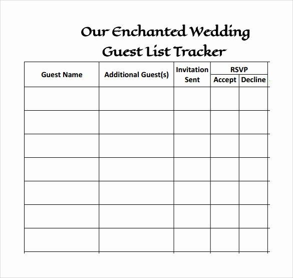 Wedding Guest List Template Pdf Best Of 17 Wedding Guest List Templates Pdf Word Excel