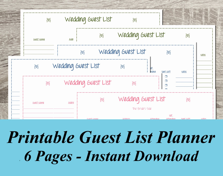 Wedding Guest List Template Pdf Elegant Instant Download Wedding Guest List Pdf Wedding Planning 6