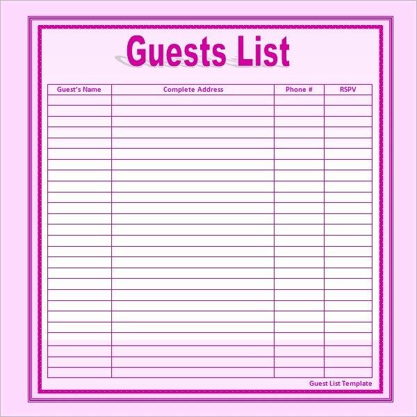 Wedding Guest List Template Pdf Fresh 17 Wedding Guest List Templates Pdf Word Excel