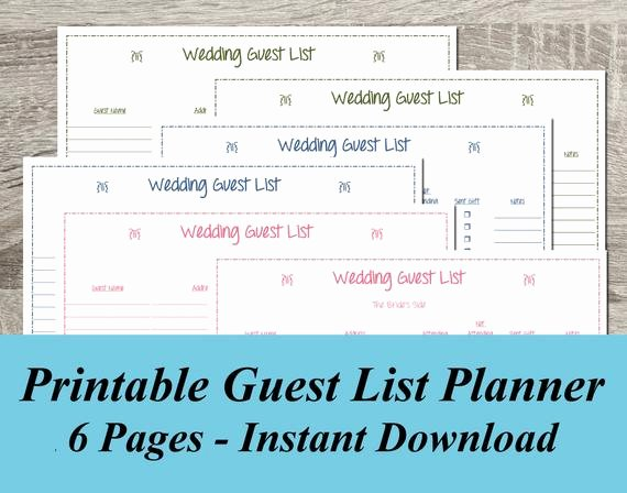 Wedding Guest List Template Pdf Lovely Instant Download Wedding Guest List Pdf Wedding Planning 6