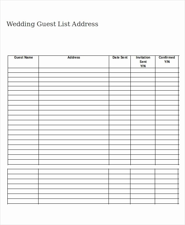 Wedding Guest List Template Pdf Luxury Printable Wedding Guest List Template