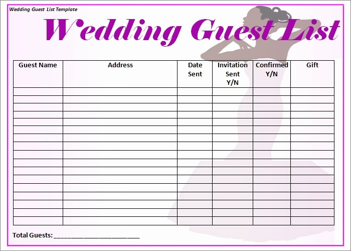 Wedding Guest List Template Pdf New Wedding Guest List Template 6 Free Sample Example