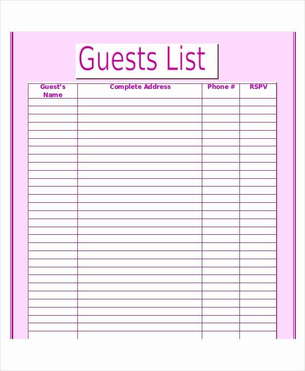 Wedding Guest List Template Unique Wedding Guest List Template 9 Free Word Excel Pdf
