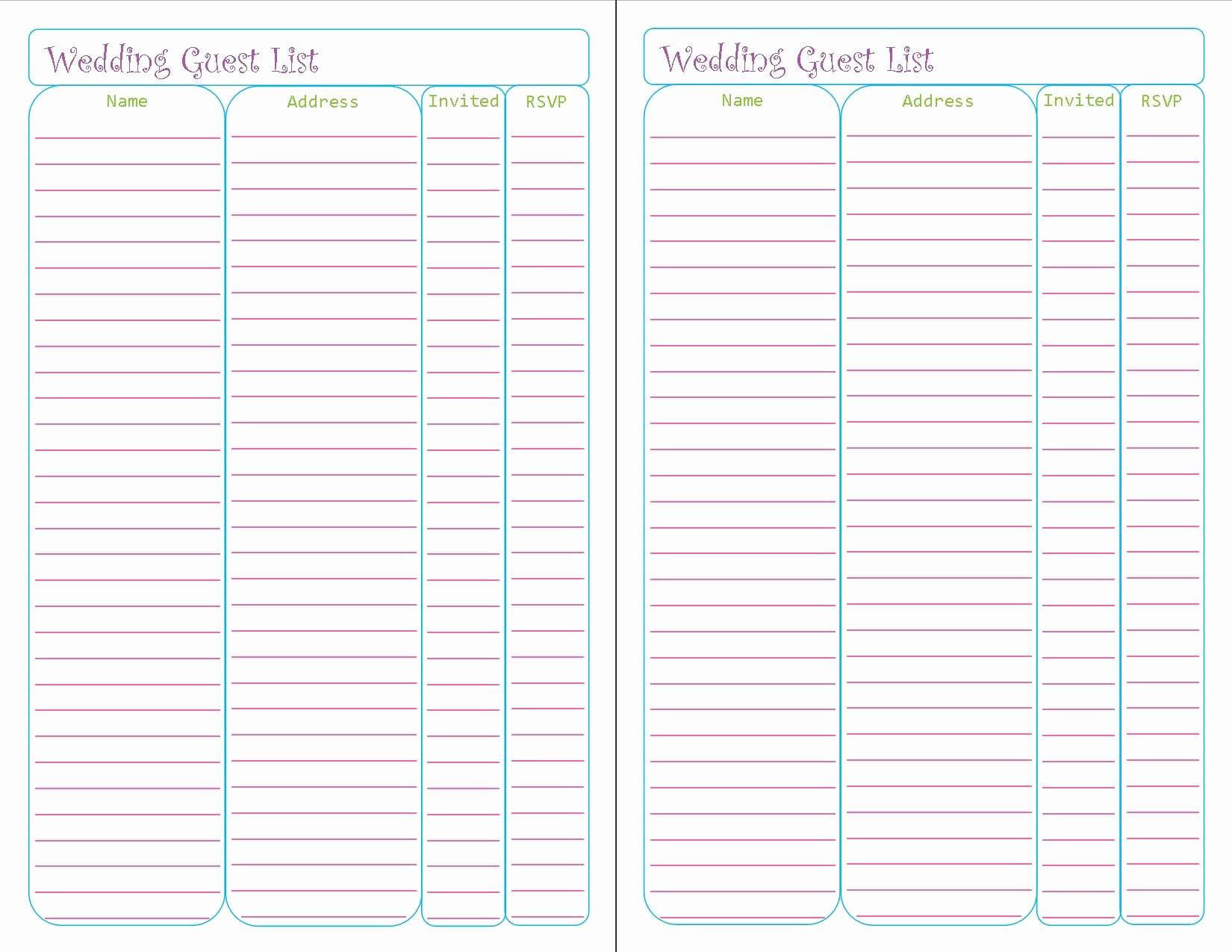 Wedding Invite List Template Awesome Printable Planner Pages – Peanut and Jellybean