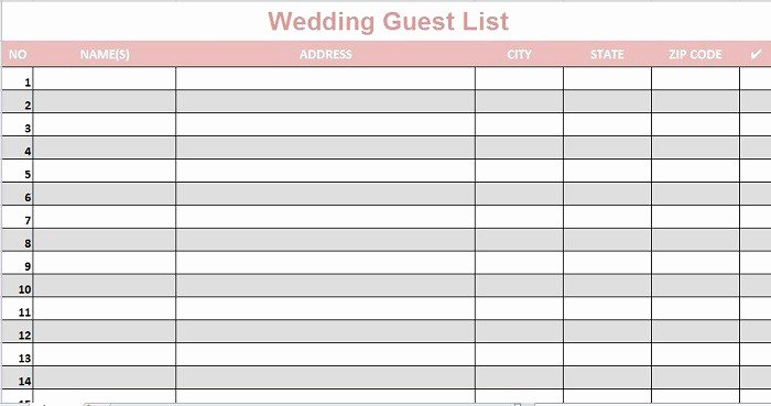 Wedding Invite List Template Best Of 35 Beautiful Wedding Guest List & Itinerary Templates