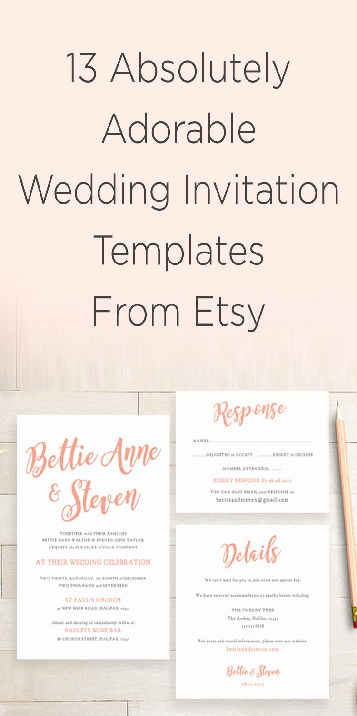 Wedding Invite List Template Lovely 13 Etsy Wedding Invite Templates