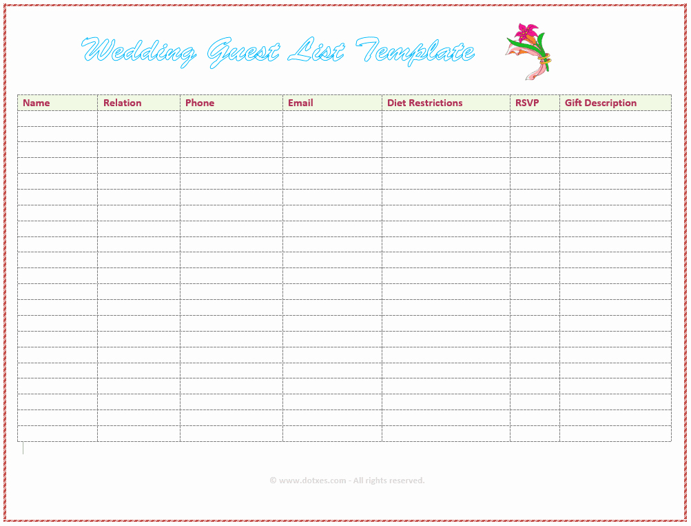 Wedding Invite List Template New 7 Free Wedding Guest List Templates and Managers