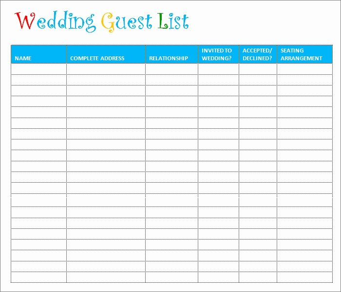 Wedding Invite List Template New Wedding Guest List Template 6 Free Sample Example