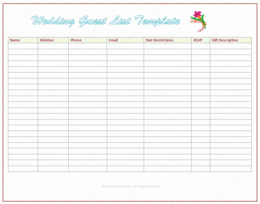 Wedding Invite List Template Unique Wedding Guest List Template Word Dotxes