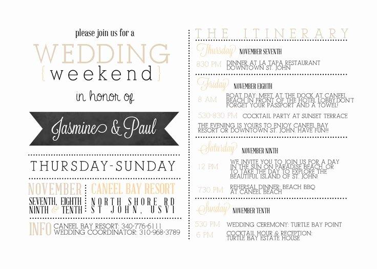 Wedding Itinerary Template Free Beautiful Best 25 Wedding Weekend Itinerary Ideas On Pinterest