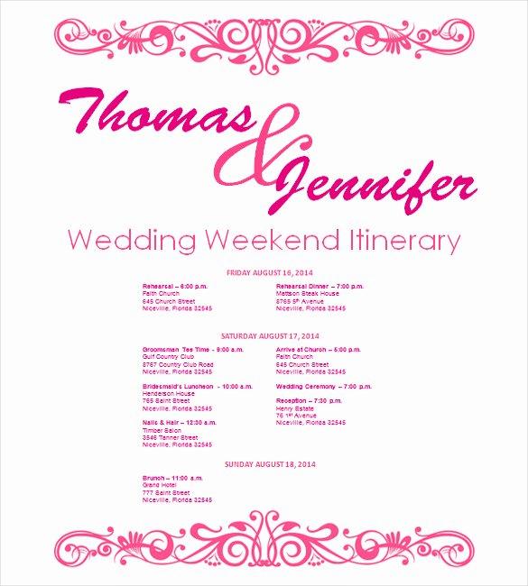 Wedding Itinerary Template Free Elegant Wedding Itinerary Template 11 Free Word Pdf Documents