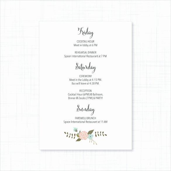 Wedding Itinerary Template Free Inspirational 26 Wedding Itinerary Templates – Free Sample Example