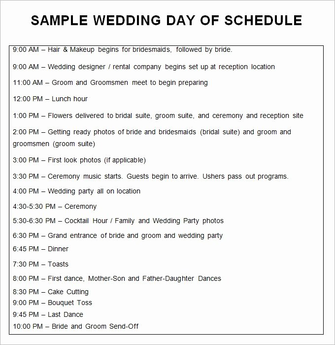 Wedding Itinerary Template Free Inspirational Wedding Schedule Template