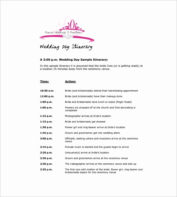 Wedding Itinerary Template Free Lovely Wedding Agenda Template – 8 Free Word Excel Pdf format